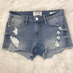 Frame light wash distressed denim jean shorts 23